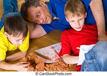 atya, játék, gyerekek