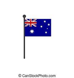 australia lobogó, elszigetelt, lengyel, vektor, háttér, fehér, ikon