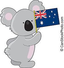 ausztrál, koala, lobogó