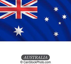ausztrália, ábra, hullámzás, háttér., lobogó, vektor, fehér