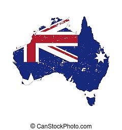ausztrália, árnykép, ország, elszigetelt, lobogó, háttér, fehér