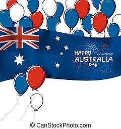 ausztrália, balloon, firwork, ábra, lobogó, vektor, tervezés, háttér, fehér, nap
