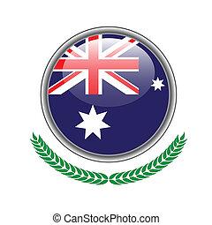 ausztrália, button., ábra, háttér., lobogó, vektor, icon., fehér