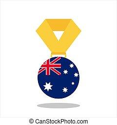 ausztrália, -, elszigetelt, ábra, lobogó, vektor, háttér, fehér, érem