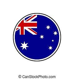ausztrália, elszigetelt, lobogó, vektor, háttér, karika, fehér, ikon