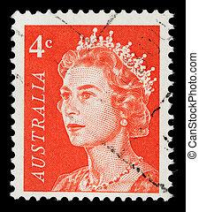 ausztrália, erzsébet, bélyeg, királyné, ii, nyomtatott, portré, látszik