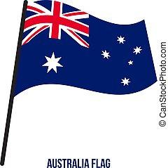 ausztrália, flag., nemzeti, ábra, hullámzás, háttér., lobogó, vektor, fehér