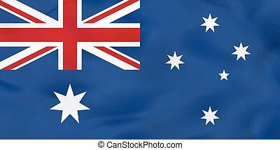 ausztrália, flag., nemzeti, lenget lobogó, háttér, texture.