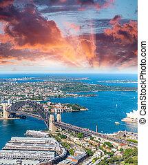 ausztrália, nsw, kikötő, sydney, szürkület