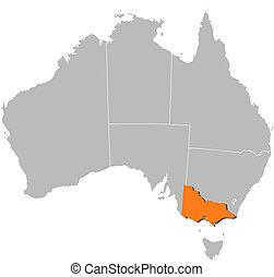 ausztrália, térkép, kijelölt, victoria