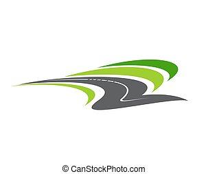 autóút, ikon, út, elszigetelt, gyalogjáró, karikatúra, vektor