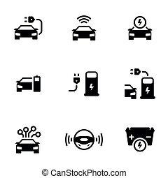 autó., állhatatos, driverless, vektor, háttér, ikonok, gépi erejű, set., egyszerű, téma, önkormányzattal bíró, autó, elektromos, fehér