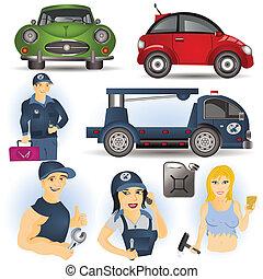 autó, állhatatos, szolgáltatás