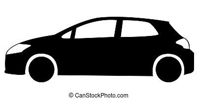 autó, árnykép, háromajtós kiskocsi