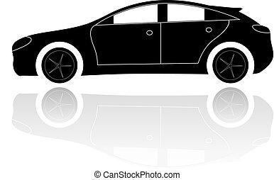 autó, árnykép