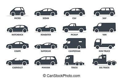 autó, árnykép, vektor, automobile., test, kifogásol, állhatatos, shadow., elszigetelt, fekete, gépel, white háttér, ikonok, háló, ábra, variants, formál