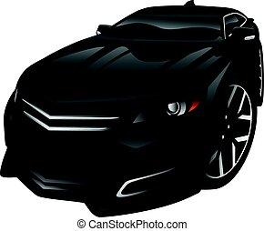 autó, új, karikatúra, ábra, autó