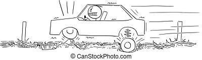 autó, út, vektor, sofőr, vezetés, tele, karikatúra, aszfalt, gödrök, ábra, rossz, nagyon