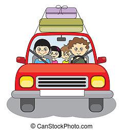 autó, ünnep, őt jár, család