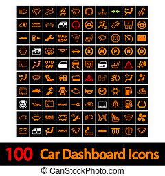 autó, 100, műszerfal, icons.
