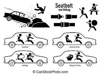 autó, airbag., biztonsági öv