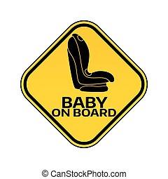 autó, böllér, ülés, sárga cégtábla, háttér., bizottság, gyermek, csecsemő, warning., rombusz, fehér