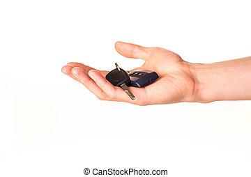autó, birtok, kulcs, hím, kéz