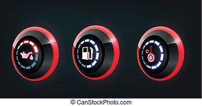 autó, bizottság, vektor, gyűjtés, műszerfal, figyelmeztetők, figyelmeztetők, 3, piros, kék