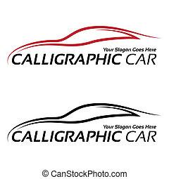 autó, calligraphic, jel