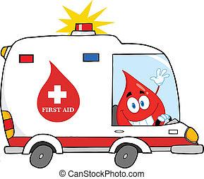 autó, csepp, vér, vezetés, mentőautó
