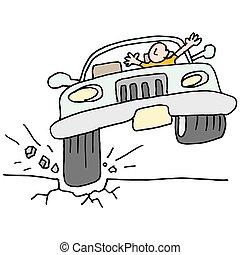 autó, edény, hole., csapó