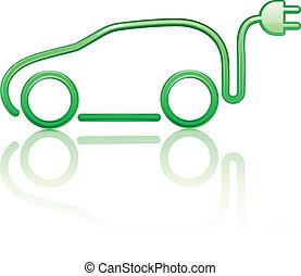 autó, elektromos, gépi erejű
