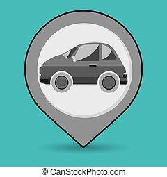 autó, elhelyezés, gombostű, ikon