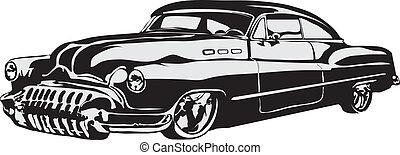 autó, elkészített, eps, retro