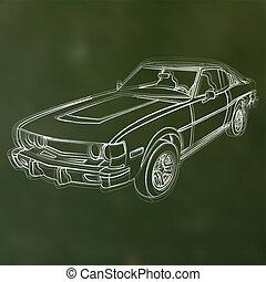 autó, elvont, ábra, kréta, vektor, sketched