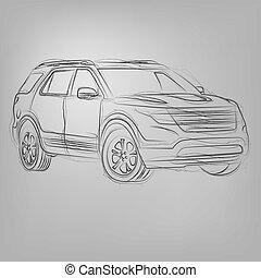 autó, elvont, ábra, vektor, sketched, fehér