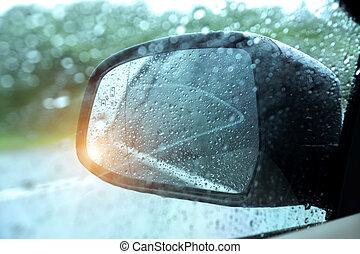 autó, elvont, eső, ablak., kép, tükör, savanyúcukorka, szegély kilátás