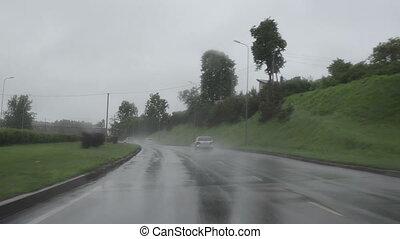 autó, eső, autóút, bukás