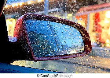 autó, eső, tükör, savanyúcukorka, szegély kilátás