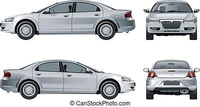 autó, fehér, vektor, elszigetelt, mockup