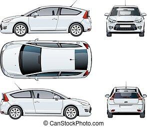autó, fehér, vektor, elszigetelt, sablon