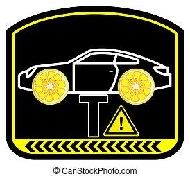 autó, figyelmeztetés, citrom