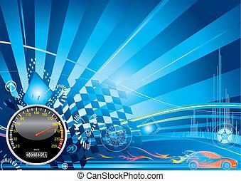 autó, fogalom, versenyzés