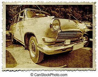 autó, fotográfia, öreg, retro