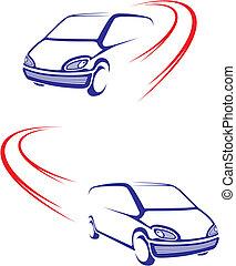 autó, gyorsan, út