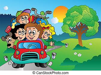 autó, haladó, szünidő, család