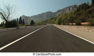 autó, hegy út