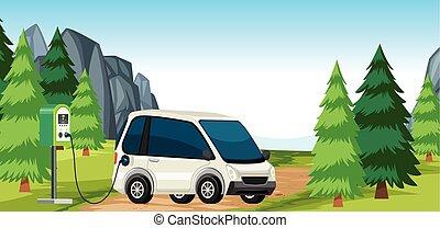 autó, hivatal, elektromos, természet