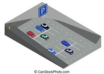 autó, isometric, szállít, föld alatti, parking., liget
