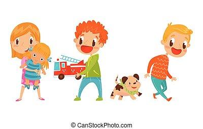 autó, játék, gyerekek, állhatatos, aktivál, baba, vektor, játékszer